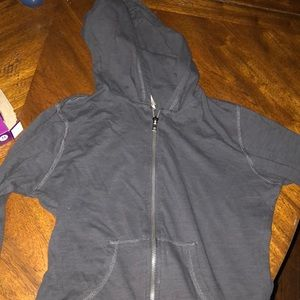 Dark charcoal hoodie with zipper, size small:)